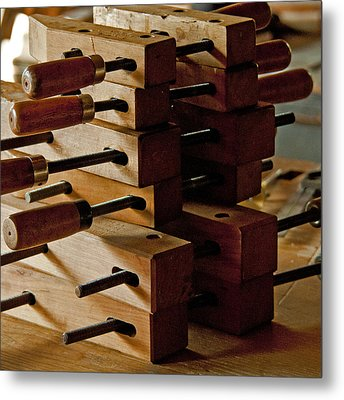 Wooden Clamps Metal Print by Wilma  Birdwell