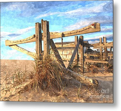 Wooden Cross Falmouth Beach Metal Print by Bryan Attewell