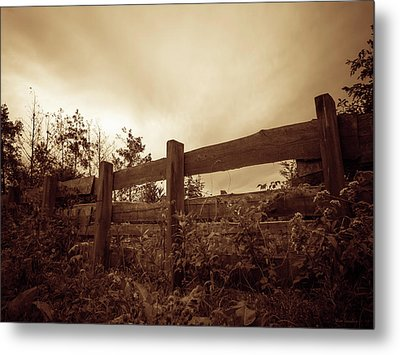 Wooden Fence Metal Print by Wim Lanclus