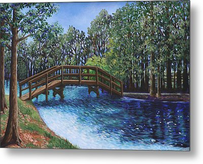Wooden Foot Bridge At The Park Metal Print by Penny Birch-Williams