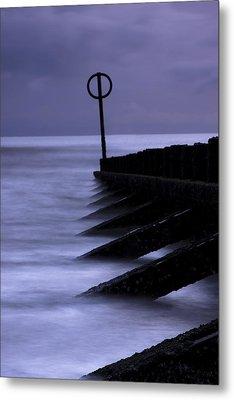 Metal Print featuring the photograph Wooden Groynes Of Aberdeen Scotland by Gabor Pozsgai
