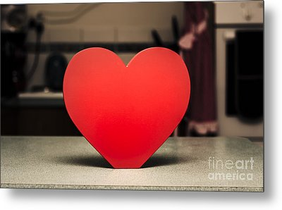 Wooden Heart Shape Chopping Block On Kitchen Bench Metal Print by Jorgo Photography - Wall Art Gallery