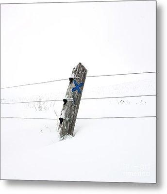 Wooden Post In Winter Metal Print by Bernard Jaubert