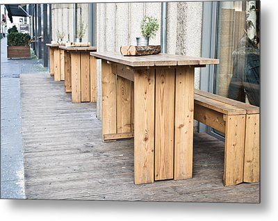 Wooden Tables Metal Print