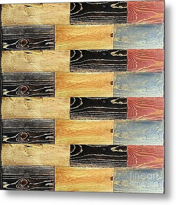 Woodgrain Art Abstract Golds Black Blues Metal Print by Scott D Van Osdol