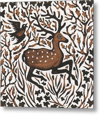Woodland Deer Metal Print