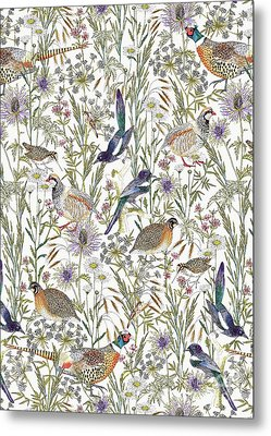 Woodland Edge Birds Metal Print by Jacqueline Colley