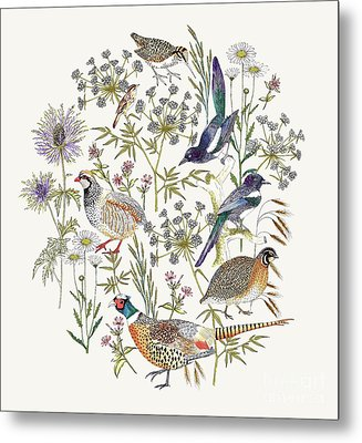 Woodland Edge Birds Placement Metal Print by Jacqueline Colley