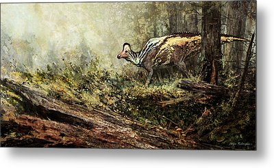 Woodland Encounter - Corythosaurus Metal Print by Angie Rodrigues