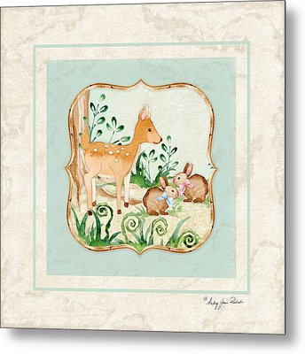 Woodland Fairy Tale - Deer Fawn Baby Bunny Rabbits In Forest Metal Print by Audrey Jeanne Roberts