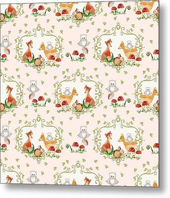 Woodland Fairy Tale - Pink Sweet Animals Fox Deer Rabbit Owl - Half Drop Repeat Metal Print