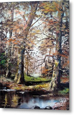 Metal Print featuring the painting Woodland Pond  by Lee Piper
