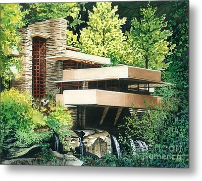 Metal Print featuring the painting Fallingwater-a Woodland Retreat By Frank Lloyd Wright by Barbara Jewell