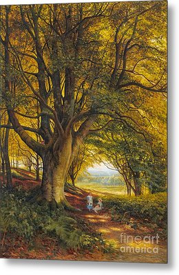 Woodland Scene In Summer With Children On A Path Metal Print by MotionAge Designs