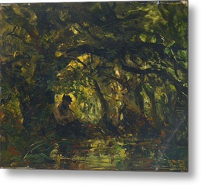 Woodland Scene With Pan Playing A Flute Metal Print by MotionAge Designs