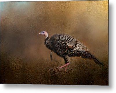 Woodland Walk - Wild Turkey Art Metal Print