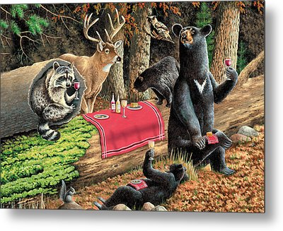 Woodland Wine Tasting Metal Print by JQ Licensing
