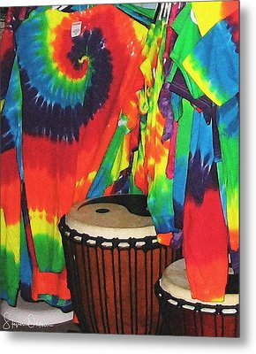 Woodstock - Tie Dyed Tees And Drum Set - Signed Limited Edition Metal Print by Steve Ohlsen