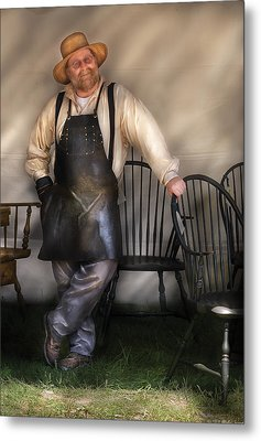 Woodworker - The Chair Maker  Metal Print by Mike Savad