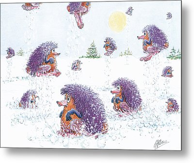 Woolly Snow Hoppers Metal Print by Charles Cater
