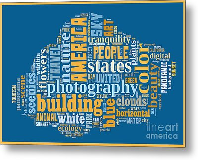 Word Cloud Of Popular Faa Keywords Metal Print by Edward Fielding