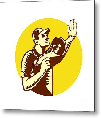 Worker Holding Megaphone Circle Woodcut Metal Print by Aloysius Patrimonio