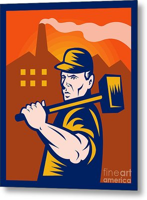 Worker With Sledgehammer Metal Print