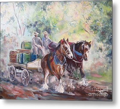 Working Clydesdale Pair, Victoria Breweries. Metal Print
