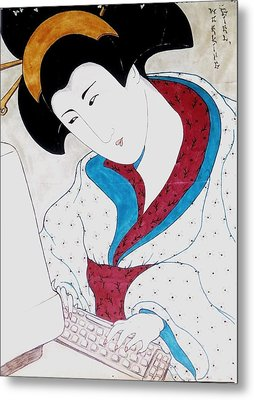 Metal Print featuring the greeting card Working Girl by Rae Chichilnitsky