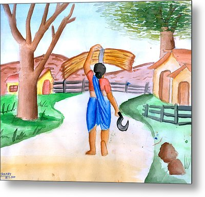 Working Woman Returning Home Metal Print by Tanmay Singh
