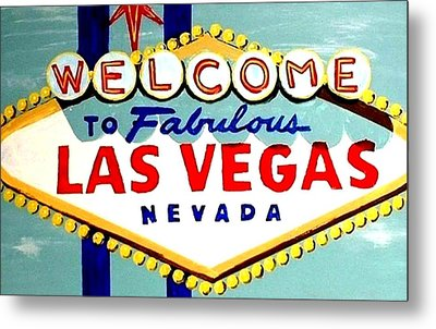World Famous Las Vegas Sign Daytime Metal Print by Teo Alfonso
