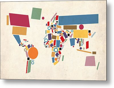 World Map Abstract Metal Print