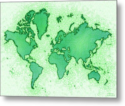 World Map Airy In Green And White Metal Print by Eleven Corners