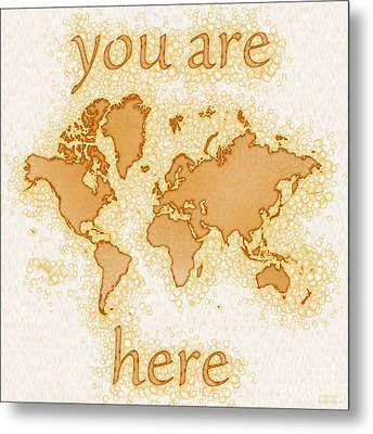World Map Airy You Are Here In Brown And White  Metal Print by Eleven Corners