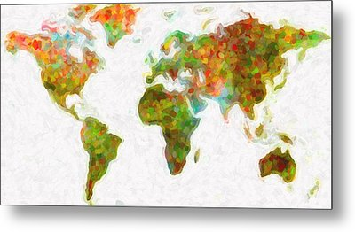 World Map Art 5 Metal Print by Celestial Images