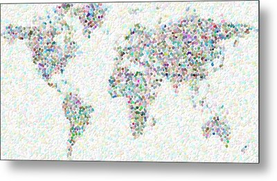 World Map Art Metal Print by Celestial Images