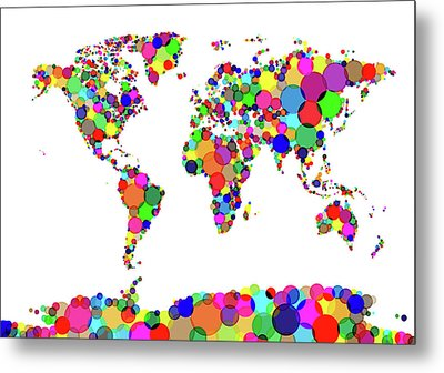 World Map Circles Metal Print by Michael Tompsett