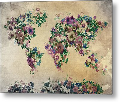 World Map Floral 12 Metal Print