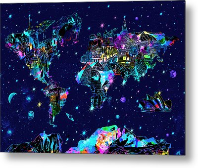 World Map Galaxy 10 Metal Print