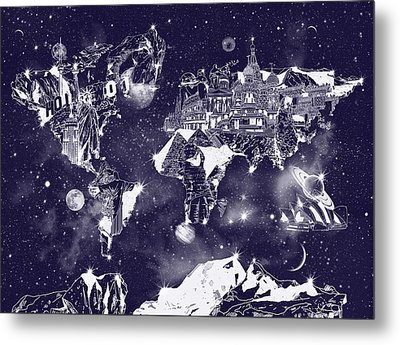 World Map Galaxy 2 Metal Print