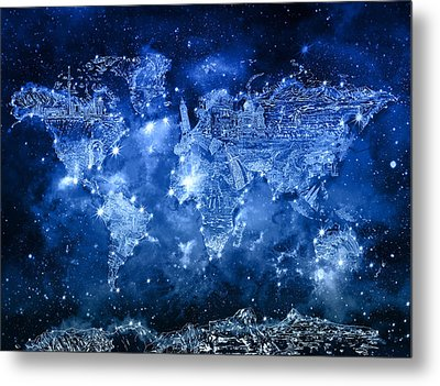 World Map Galaxy 5 Metal Print