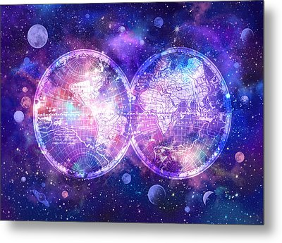 World Map Galaxy 7 Metal Print