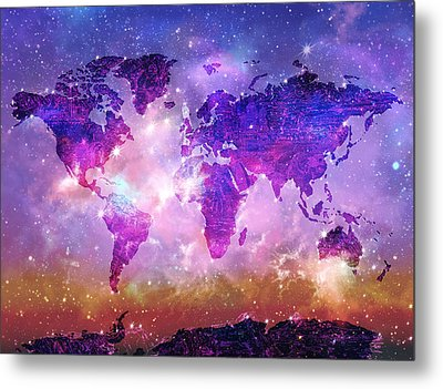 World Map Galaxy 8 Metal Print