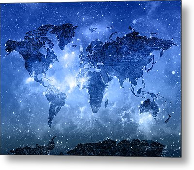 World Map Galaxy 9 Metal Print by Bekim Art