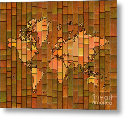 World Map Glasa Brown Orange Green Metal Print by Eleven Corners
