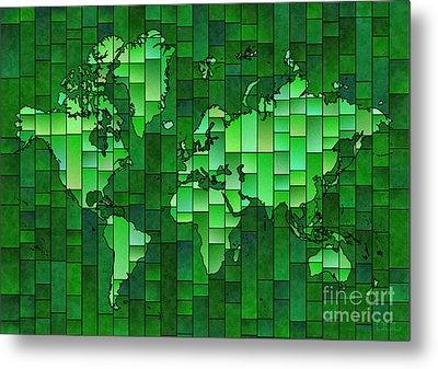 World Map Glasa Green Metal Print