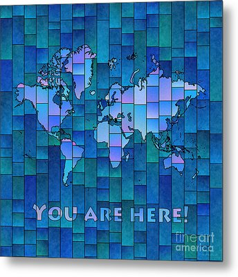World Map Glasa You Are Here In Blue Metal Print