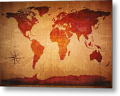 World Map Grunge Style Metal Print by Johan Swanepoel