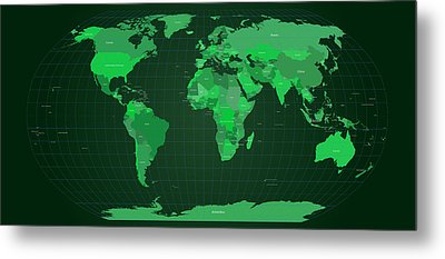 World Map In Green Metal Print by Michael Tompsett