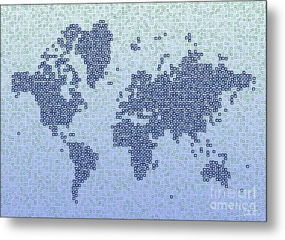 World Map Kotak In Blue Metal Print